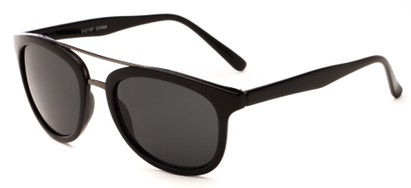 Angle of Luminary #5431 in Glossy Black/Grey Frame with Grey Lenses, Women's and Men's Retro Square Sunglasses