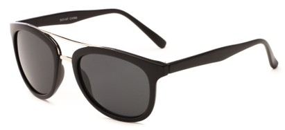 Angle of Luminary #5431 in Matte Black/Silver Frame with Grey Lenses, Women's and Men's Retro Square Sunglasses