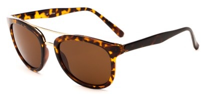 Angle of Luminary #5431 in Light Brown Tortoise/Gold Frame with Amber Lenses, Women's and Men's Retro Square Sunglasses