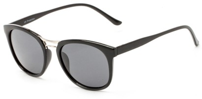 Angle of Arbuckle #5436 in Glossy Black Frame with Smoke Lenses, Women's and Men's Round Sunglasses