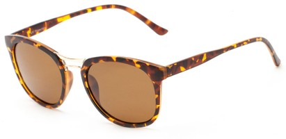 Angle of Arbuckle #5436 in Matte Tortoise Frame with Amber Lenses, Women's and Men's Round Sunglasses