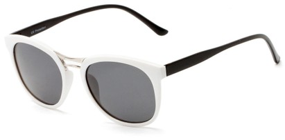 Angle of Arbuckle #5436 in White/Black Frame with Smoke Lenses, Women's and Men's Round Sunglasses
