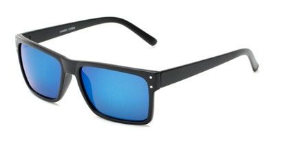 Angle of Harley #5446 in Matte Black Frame with Blue Mirrored Lenses, Women's and Men's Square Sunglasses