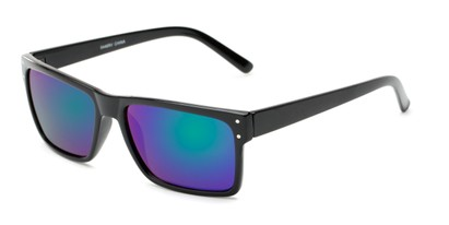 Angle of Harley #5446 in Glossy Black Frame with Green/Purple Mirrored Lenses, Women's and Men's Square Sunglasses