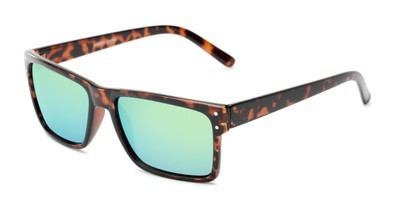 Angle of Harley #5446 in Glossy Tortoise Frame with Yellow/Blue Mirrored Lenses, Women's and Men's Square Sunglasses