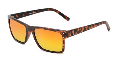 Angle of Harley #5446 in Matte Tortoise Frame with Orange/Yellow Mirrored Lenses, Women's and Men's Square Sunglasses
