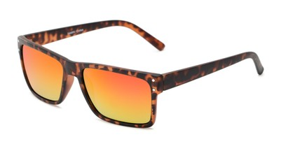 Angle of Harley #5446 in Matte Tortoise Frame with Red/Yellow Mirrored Lenses, Women's and Men's Square Sunglasses