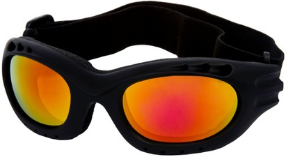 Angle of Bergen #9886 in Black Frame with Red/Yellow Mirrored Lenses, Women's and Men's Sport & Wrap-Around Sunglasses