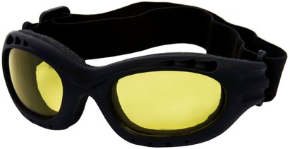 Angle of Bergen #9886 in Black Frame with Yellow Lenses, Women's and Men's Sport & Wrap-Around Sunglasses