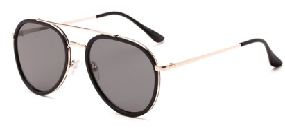 Angle of Excalibur #5493 in Black/Gold Frame with Grey Lenses, Women's and Men's Aviator Sunglasses