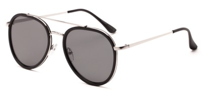 Angle of Excalibur #5493 in Black/Silver Frame with Grey Lenses, Women's and Men's Aviator Sunglasses