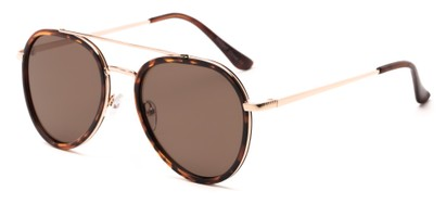 Angle of Excalibur #5493 in Tortoise/Gold Frame with Brown Lenses, Women's and Men's Aviator Sunglasses