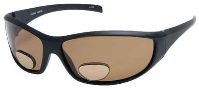 Angle of SW Polarized Bi-Focal Style #55063 in Matte Black with Amber Lenses, Women's and Men's