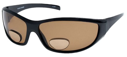 Angle of SW Polarized Bi-Focal Style #55063 in Glossy Black with Amber Lenses, Women's and Men's
