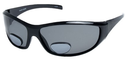 Angle of SW Polarized Bi-Focal Style #55063 in Glossy Black with Smoke Lenses, Women's and Men's