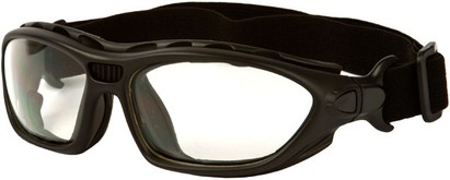Angle of SW Goggle Style #2350 in Black Frame with Clear Lenses, Women's and Men's