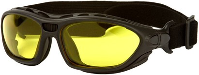 Angle of SW Goggle Style #2350 in Black Frame with Yellow Lenses, Women's and Men's