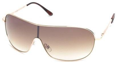 Angle of SW Shield Style #46 in Gold frame with Gold Smoke Lenses, Women's and Men's