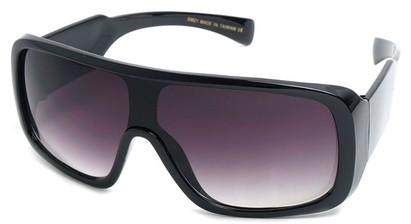 Angle of SW Shield Style #540431 in Black with Rose Lenses, Women's and Men's