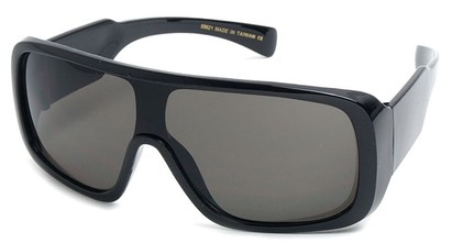 Angle of SW Shield Style #540431 in Black with Smoke Lenses, Women's and Men's