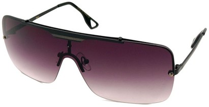 Angle of SW Shield Style #1160 in Matte Black Frame with Smoke Lenses, Women's and Men's