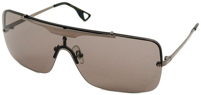 Angle of SW Shield Style #1160 in Grey Frame with Smoke Lenses, Women's and Men's