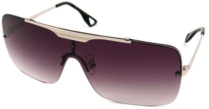 Angle of SW Shield Style #1160 in Silver Frame with Smoke Lenses, Women's and Men's