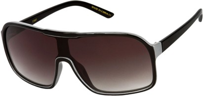 Angle of SW Shield Style #710 in Black/Grey Frame with Smoke Lenses, Women's and Men's