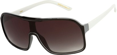 Angle of SW Shield Style #710 in Black/White Frame with Smoke Lenses, Women's and Men's