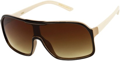 Angle of SW Shield Style #710 in Brown/Tan Frame with Amber Lenses, Women's and Men's