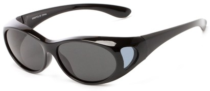 Angle of Wrangell #5585 in Black Frame with Smoke Lenses, Women's and Men's Round Sunglasses