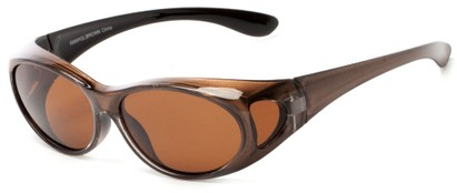 Angle of Wrangell #5585 in Bronze Metallic Frame with Amber Lenses, Women's and Men's Round Sunglasses