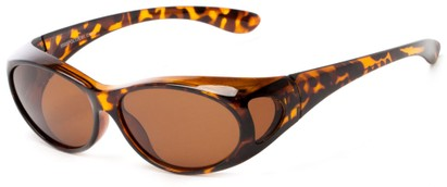Angle of Wrangell #5585 in Tortoise Frame with Amber Lenses, Women's and Men's Round Sunglasses