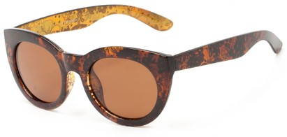 Angle of Mandara #5684 in Brown/Gold Frame with Amber Lenses, Women's Round Sunglasses
