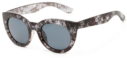 Angle of Mandara #5684 in Black/Clear Frame with Smoke Lenses, Women's Round Sunglasses