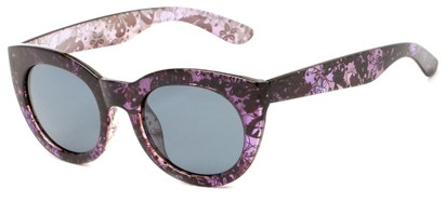 Angle of Mandara #5684 in Black/Purple Frame with Smoke Lenses, Women's Round Sunglasses