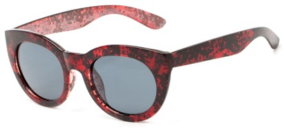 Angle of Mandara #5684 in Black/Red Frame with Smoke Lenses, Women's Round Sunglasses