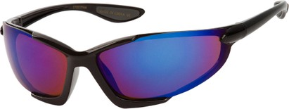 Angle of Colosseum #1387 in Black Frame with Mirrored Lenses, Women's and Men's Sport & Wrap-Around Sunglasses