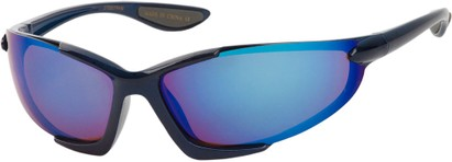 Angle of Colosseum #1387 in Blue Frame with Mirrored Lenses, Women's and Men's Sport & Wrap-Around Sunglasses