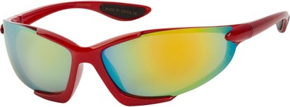 Angle of Colosseum #1387 in Red Frame with Mirrored Lenses, Women's and Men's Sport & Wrap-Around Sunglasses