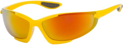 Angle of Colosseum #1387 in Yellow Frame with Mirrored Lenses, Women's and Men's Sport & Wrap-Around Sunglasses