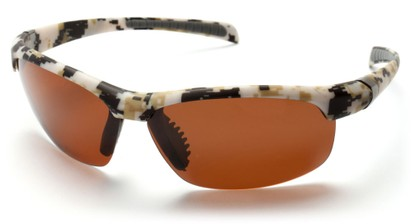 Angle of SW Polarized Sport Style #5708 in Tan Camouflage Frame with Amber Lenses, Women's and Men's