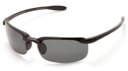 Angle of Continental #5712 in Matte Black Frame with Smoke Lenses, Women's and Men's Sport & Wrap-Around Sunglasses