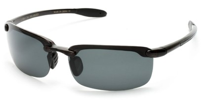 Angle of Continental #5712 in Glossy Black Frame with Smoke Lenses, Women's and Men's Sport & Wrap-Around Sunglasses