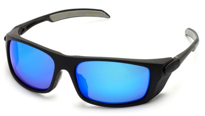 Angle of Badlands #5734 in Matte Black Frame with Blue Mirrored Lenses, Women's and Men's Sport & Wrap-Around Sunglasses