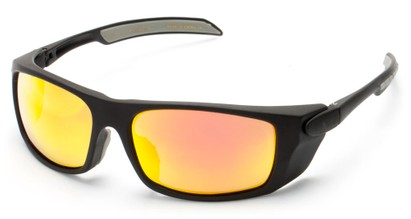Angle of Badlands #5734 in Matte Black Frame with Orange Mirrored Lenses, Women's and Men's Sport & Wrap-Around Sunglasses