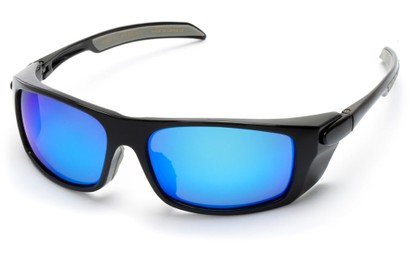 Angle of Badlands #5734 in Glossy Black Frame with Blue Mirrored Lenses, Women's and Men's Sport & Wrap-Around Sunglasses