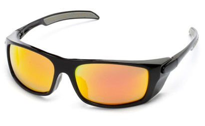 Angle of Badlands #5734 in Glossy Black Frame with Orange Mirrored Lenses, Women's and Men's Sport & Wrap-Around Sunglasses