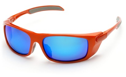 Angle of Badlands #5734 in Glossy Orange Frame with Blue Mirrored Lenses, Women's and Men's Sport & Wrap-Around Sunglasses