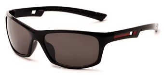 Angle of Sling #7005 in Glossy Black/Red Frame with Grey Lenses, Men's Sport & Wrap-Around Sunglasses